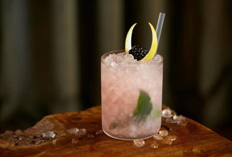 Mondrian London Catkin: Mr. Lyan gin, blackberry, lemon, birch wine & leaf, mint, caraway