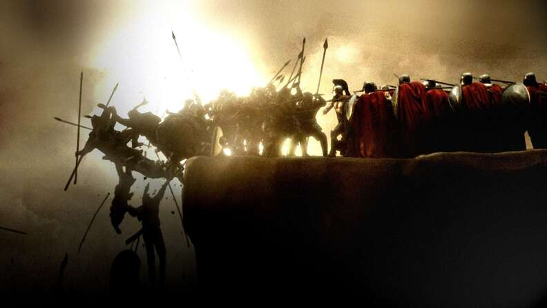 Soldiers being epically kicked off a ledge in 300 the movie