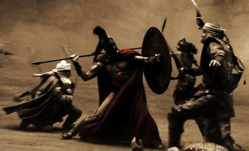 Villains fighting in 300 movie