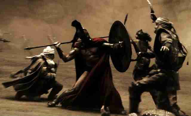 Villains fighting in 300 movie