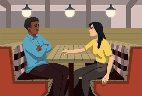 illustrated gif of a man ghosting a woman on a date