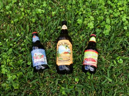 Abita beers on grass