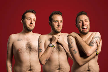 Triptych of shirtless tattooed man