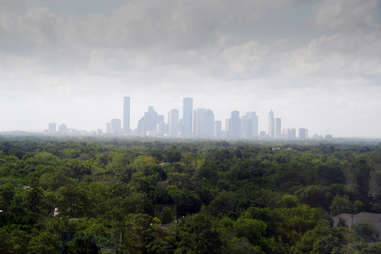Downtown Houston in the fog