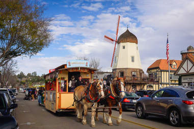 Solvang windmill and horses