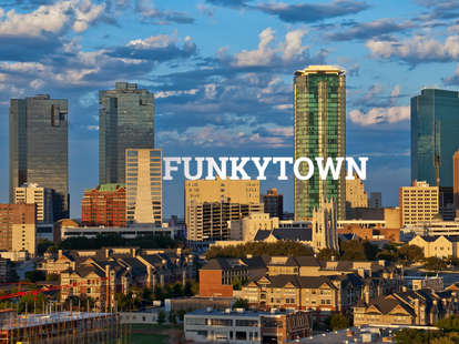fort worth downtown with text overlay