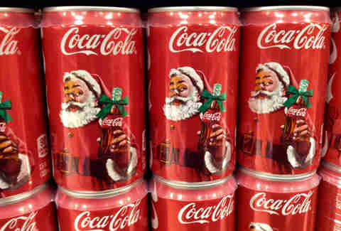 santa on cans of coke