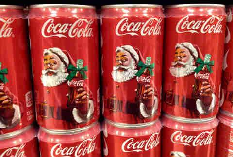 santa on cans of coke