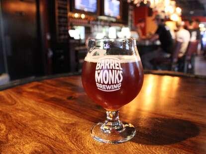 Single glass of blackcurrant Barrel of Monks beer