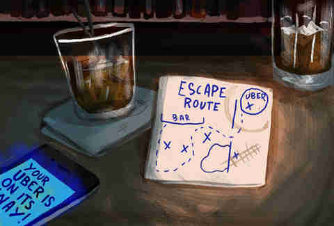 Illustrated map of an escape route on a bar napkin