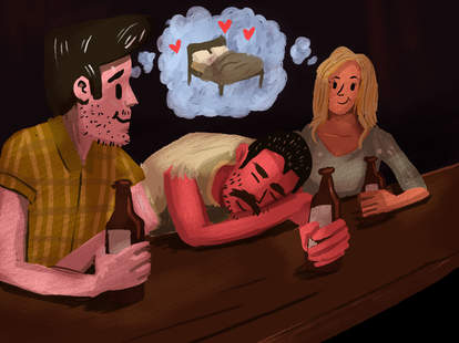 Illustrated couple at bar thinking up a way to go home and go to bed