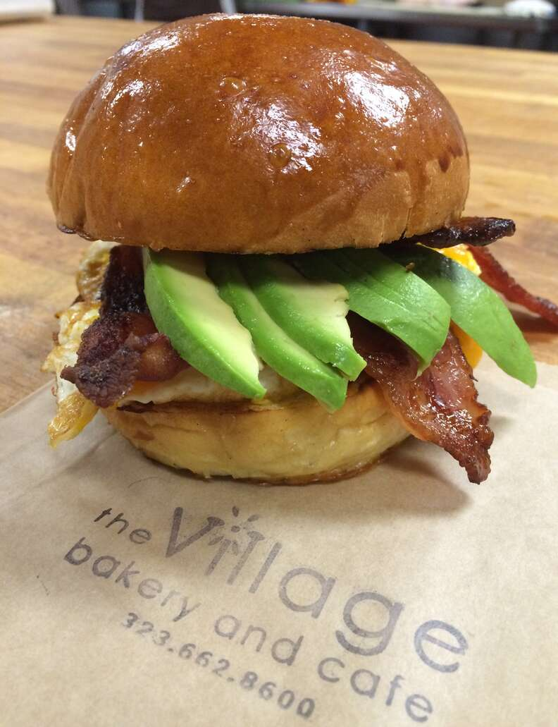 bacon egg and cheese with avocado from Village bakery and cafe