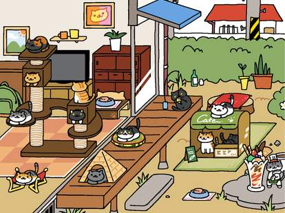 Neko Atsume iPhone game screenshot