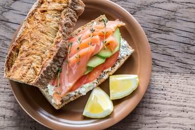 close up of salmon sandwich