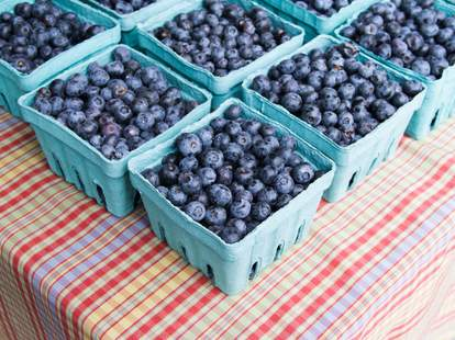 blueberries on a table close up
