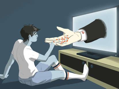 Jason Hoffman Thrillist illustration of a man receiving pills from a pharmaceutical ad