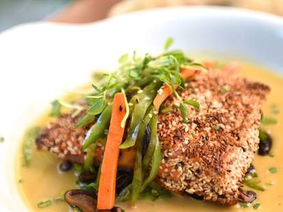 A Votre Sante sesame crusted salmon dinner sautéed mushrooms
