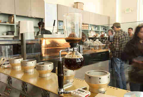 coffee siphon in blue bottle