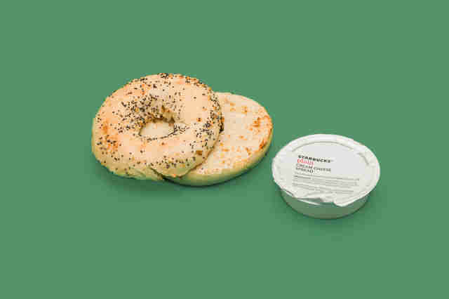 Starbucks everything bagel with cheese, cream cheese