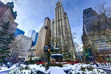 new york city during winter skyline