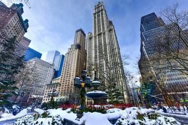 new york city during winter skyline