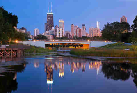 Lincoln Park at dusk in Chicago