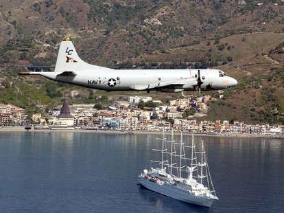 US Navy Plane over Naval Air Station Sigonella
