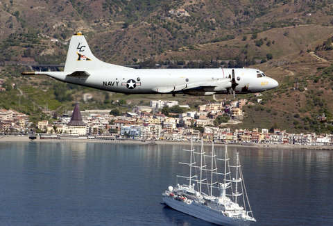 US Navy Plane over Naval Air Station Sigonella