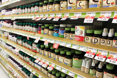 pills and vitamins in a pharmacy