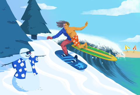 Jason Hoffman Thrillist illustration of a man surfing and snowboarding at the same time