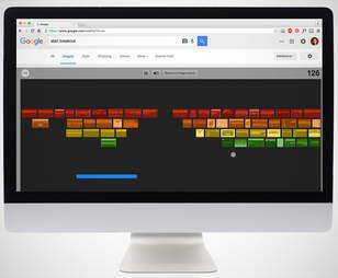 screenshot of google atari breakout game