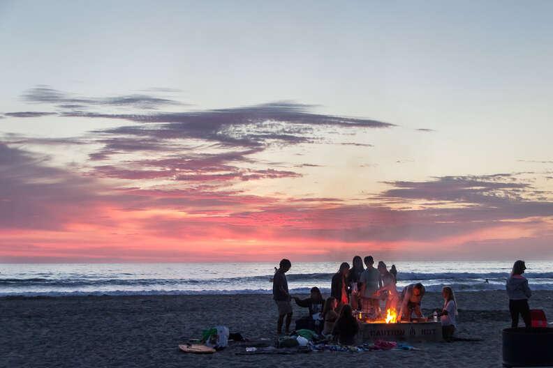 beach, sunset, beach at sunset, bonfire, beach bonfire