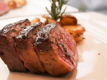 Toscana New York steak served with roasted potatoes and a touch of chopped rosemary