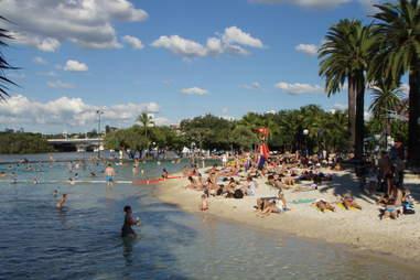 People lounging on Brisbane beach