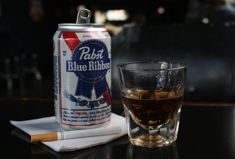 PBR and shot of whiskey with cigarette