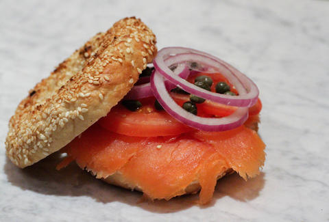 bagel breakfast sandwich with lox