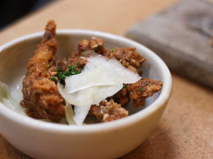 Fried Qual with Stewed Onions at State Bird Provisions