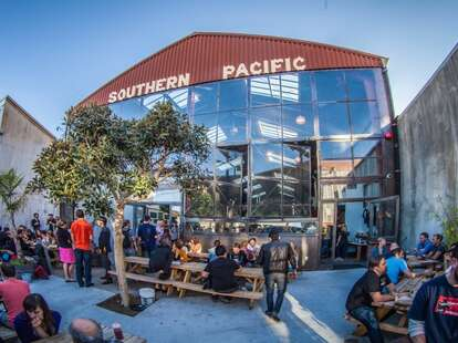 Backyard at Southern Pacific Brewing