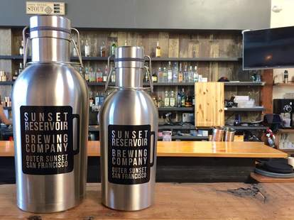 Stainless Steel Sunset Reservoir Brewing Company Growlers