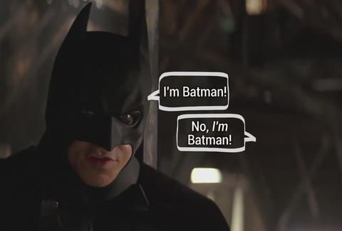 Batman photo with captions