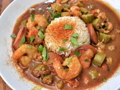 gumbo close up cajun dish rice shrimp