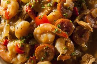 cajun gumbo close up shrimp
