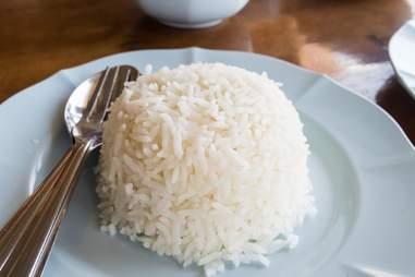 close up of rice dish white rice