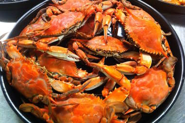 crabs close up in pot cooking gumbo