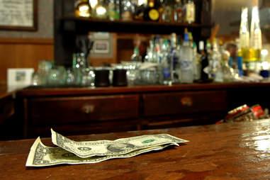 money at a bar