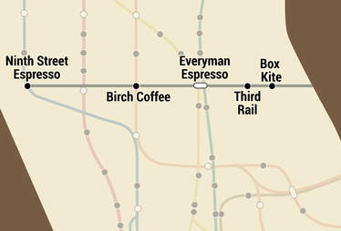 NYC subway coffee map