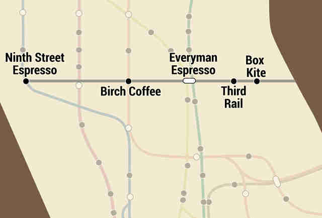NYC subway coffee map