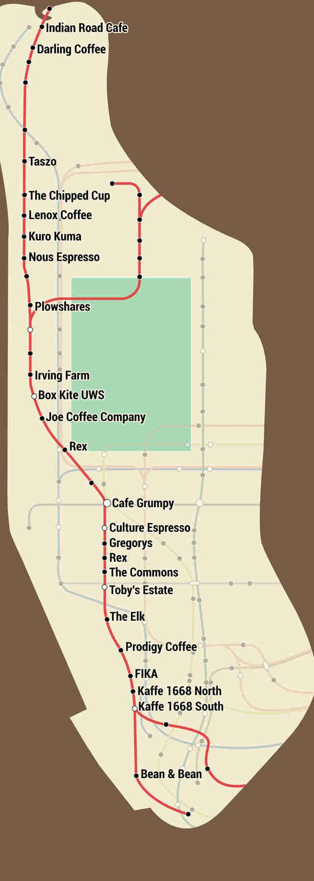 The NYC Coffee Shop Subway Map Thrillist