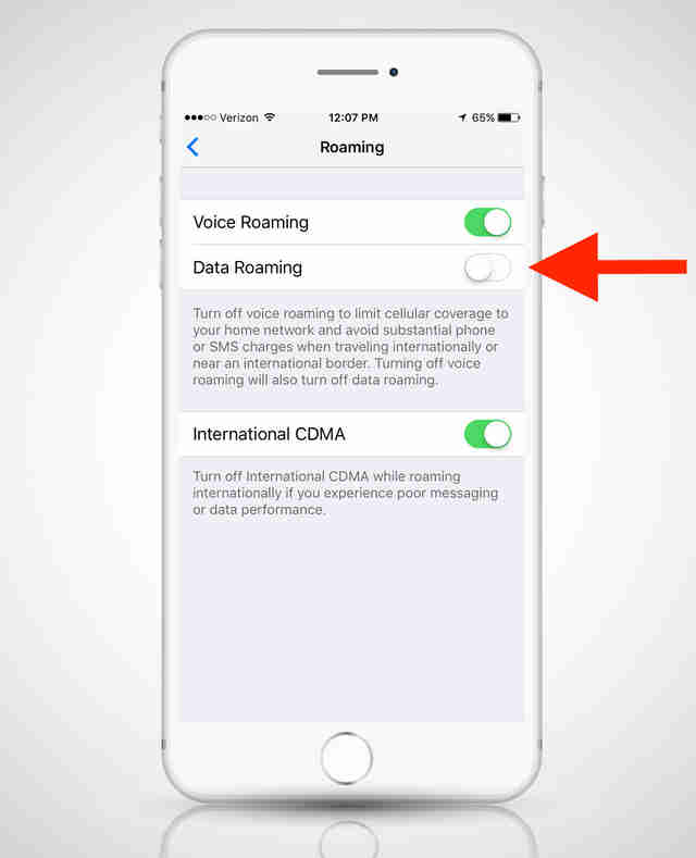 data roaming settings on iphone 6s