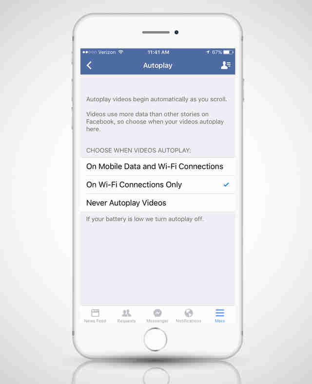facebook settings page on iphone 6s